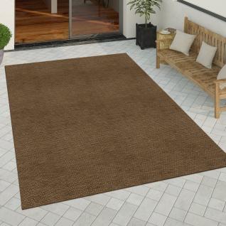 In- & Outdoor Teppich Küchenteppich Einfarbiges Design Sisal Optik Modern Braun