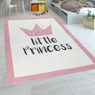 Kinderteppich Kinderzimmer Mädchen Babyteppich Waschbar Prinzessin Spruch Rosa