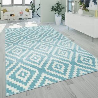 Kurzflor Teppich Blau Weiß Wohnzimmer Rauten Muster Ethno Design Robust Pastell