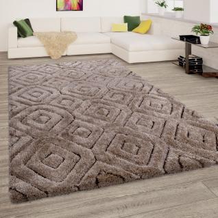 Hochflor Teppich Wohnzimmer Shaggy 3D Effekt Weich Rauten Muster Modern Beige