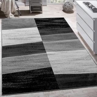 Designer Teppich Modern Abstrakt Optik Kariert Kurzflor Meliert In Grau