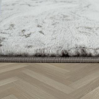 Teppich Wohnzimmer Grau Gold Weich Rauten Muster Marmor Design Meliert Kurzflor - Vorschau 2