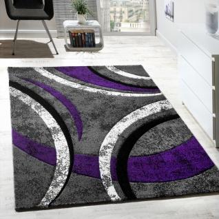Designer Teppich mit Konturenschnitt Muster Gestreift Lila Grau Creme AUSVERKAUF