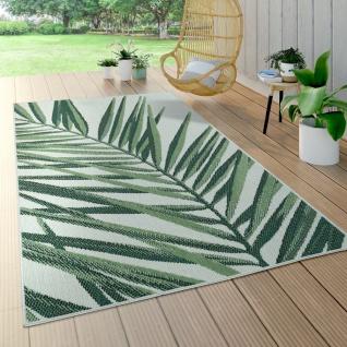 In- & Outdoor Teppich Palmen-Muster Terrasse Balkon Flachgewebe Grün Beige