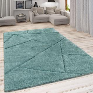 Hochflor Teppich Wohnzimmer Grün Weich Shaggy Flauschig Abstraktes 3-D Muster - Vorschau 1