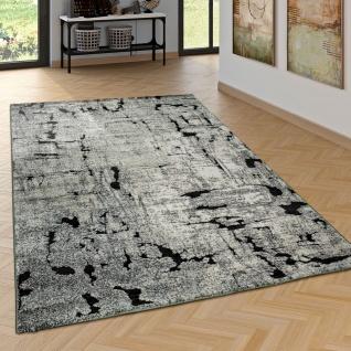 Edler Designer Teppich Wohnzimmer Hoch Tief Effekt Industrial Look Modern Grau