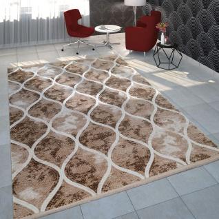 Wohnzimmer-Teppich Im Orientalischen Mosaik-Design, Vintage-Kurzflor In Beige