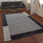 Teppich Handgewebt Gabbeh Qualität 100% Wolle Bordüre Meliert In Grau