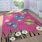 Kinderteppich Kinderzimmer Spielteppich Kurzflor Schmetterlinge Blumen In Pink