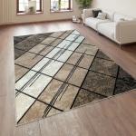 Designer Wohnzimmer Teppich Modern Kurzflor Geometrische Muster Braun Beige Creme