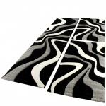 Bettumrandung Läufer Teppich Trendig Modern Grau Schwarz Weiss Läuferset 3Tlg