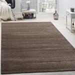 Designer Teppich Frieze Teppiche Luxuriös Schimmer Glanzeffekt Uni Pastell Braun