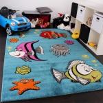 Kinderteppich Clown Fisch Unterwasserwelt Design Türkis Blau Grün Creme Pink