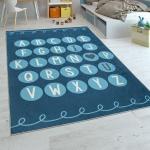 Kinderteppich Kinderzimmer Moderner Lernteppich Waschbar Verspielt ABC Blau Weiß
