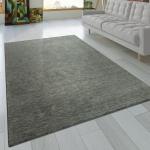 Teppich Handgeknotet Gabbeh Hochwertig 100% Wolle Dezent Meliert In Uni Grau