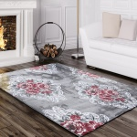 Designer Teppich Edel Mit Vintage Blumen Muster Meliert In Grau Creme Rosa