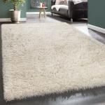 Hochflor Teppich Kuschelig Modern Shaggy Flokati Stil Gemütlich Uni In Weiß