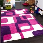 Teppich Kinderzimmer Trendiger Retro Kinderteppich in Pink Lila Creme