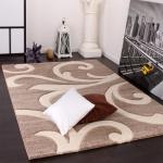 Designer Teppich mit Konturenschnitt Modern Beige Creme