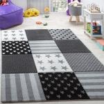 Kinderteppich Sterne Muster Kurzflor Konturenschnitt Karo Design Grau Schwarz