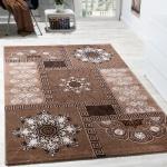 Designer Teppich Klassische Ornamente Kronleuchter Optik Beige Braun Meliert