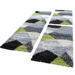Bettumrandung Läufer Hochflor Shaggy Teppich Weich Grün Grau Läuferset 3 Tlg