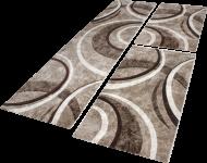 Bettumrandung Teppich Konturenschnitt Wellen Braun Beige Creme Läuferset 3 Tlg.