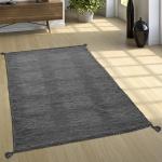 Designer Teppich Webteppich Kelim Handgewebt 100% Baumwolle Modern Meliert Grau
