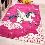 Kinderzimmer Teppich für Kinder Das Kleine Einhorn Pink Creme Türkis