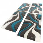 Bettumrandung Läufer Teppich Muster Modern Türkis Grau Weiss Läuferset 3 Tlg.