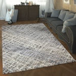 Designer Wohnzimmer Teppich Hoch Tief Struktur Abstraktes Muster Modern Grau