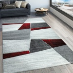 Designer Teppich Modern Konturenschnitt Geometrisches Muster Grau Rot
