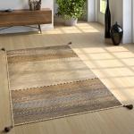 Designer Teppich Webteppich Kelim Handgewebt 100% Baumwolle Modern Gemustert Beige