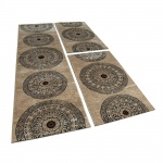 Bettumrandung 3 teilig Kreis Ornament Teppich Läufer Meliert in Braun Beige