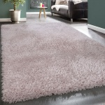 Hochflor Teppich Kuschelig Modern Shaggy Flokati Stil Gemütlich Uni Rosa