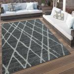 In- & Outdoor Terrassen Teppich Modernes Rauten Design Grau