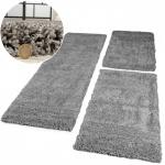 Bettumrandung 3 tlg Hochflor Shaggy Super Langflor Teppich Läufer Grau Meliert