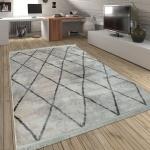 Wohnzimmer Teppich Rauten Fransen Skandinavisch Muster Karo In Creme Grau