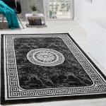 Designer Teppich Mit Glitzergarn Klassische Ornamente Bordüre Grau Anthrazit Weiß
