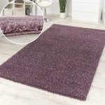 Shaggy Purple Hochflor Langflor Teppich Lila Meliert Einfarbig Top Ausverkauf