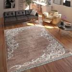 Moderner Teppich Mit Bedrucktem Ranken Muster Trend Design Beige Weiß