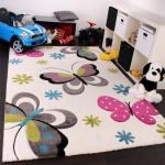 Kinder Teppich Schmetterling Design Pink Grün Blau Grau Creme