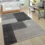 Kurzflor Teppich Wohnzimmer Modern Design Mehrfarbig Geometrisch Kariert Grau