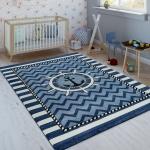 Kinderteppich Indigo Blau Weiß Maritim Trend 3D Matrosen Design Kurzflor