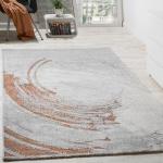 Edler Designer Teppich Hochtief-Effekt Relief Optik Orange Grau Meliert