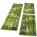 Bettumrandung Läufer Teppich Meliert Design Grün Creme Läuferset 3 Tlg.