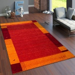 Teppich Handgewebt Gabbeh Hochwertig 100% Wolle Borde In Terrakotta Orange