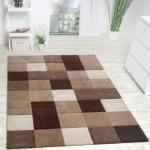 Designer Teppich Modern Handgearbeiteter Konturenschnitt Kariert Braun Beige