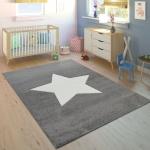 Kinderteppich Kinderzimmer Jungen Mädchen Modern Großer Stern In Grau Weiß