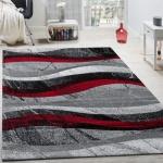 Designer Teppich Modern Kurzflor Wellen Optik Abstrakt Grau Schwarz Rot